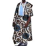 Highisa Mens Oversized African Print Dashiki Batik Gowns Casual T-shirts Ten L