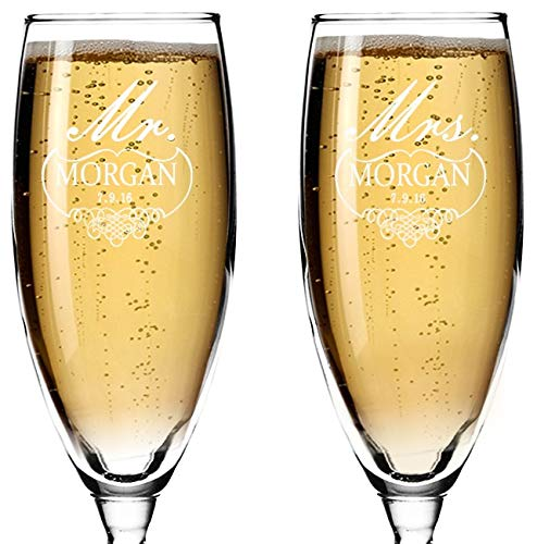Set of 2 Personalized Wedding Champagne Flutes- Mr and Mrs Design - Engraved Flutes for Bride and Groom Gift for Customized Wedding Gift (Blue Is Champagne What)