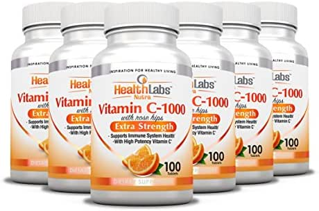 Health Labs Nutra Extra-Strength Vitamin C 1,000mg with Rose Hips (Fast-Acting Non-Chewable Tablets) - Pack of 6