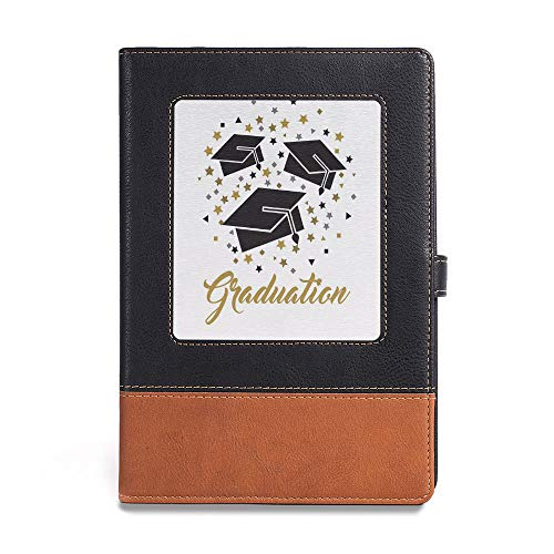 """Vintage Writing Notebook Diary,Graduation Decor,A5(6.1"""" x 8.6""""),for Men Women Writers Artist Poet Gift for Him Her,Academy Achievement Bachelor Theme Thrown Caps Tassels Vibrant"""