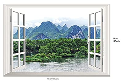 """Homefind ( 33"""" x 22"""") 3D Fake Faux Window Frame Glass Wall Stickers Living Room Bedroom Wall Decals Removable Self Adhesive Vinyl Murals Home Décor"""