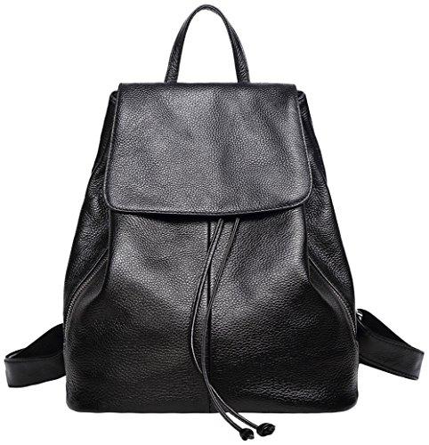 Genuine Leather Backpack for Women Elegant Ladies Travel Shoulder Bag Black