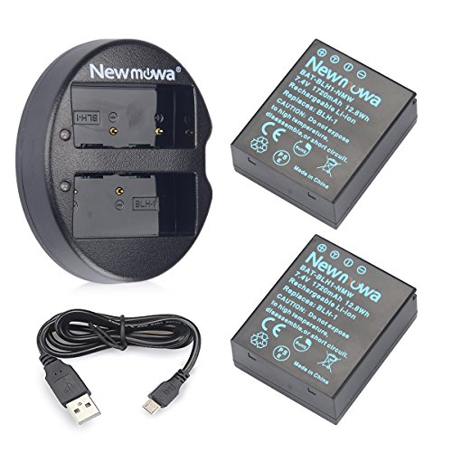 Newmowa BLH-1 Battery (2 pack) and Dual USB Charger for Olympus BLH-1 and Olympus EM1 MARK II Camera(Half-Decoded) by Newmowa