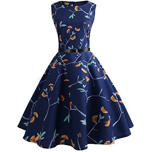 Birdfly Summer Women Floral & Pineapple Print Hepburn Style Skirt Dress with Waist Belt Plus Size 2L (2XL, Dark Blue(52)) from Birdfly