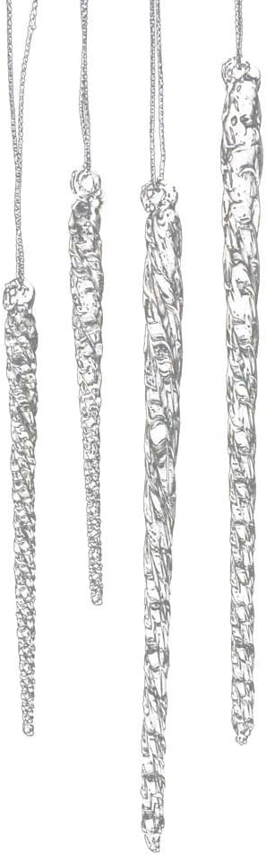 Kurt Adler 3-1/2-Inch-5-1/2-Inch Clear Glass Icicle Ornament Set of 24 Pieces