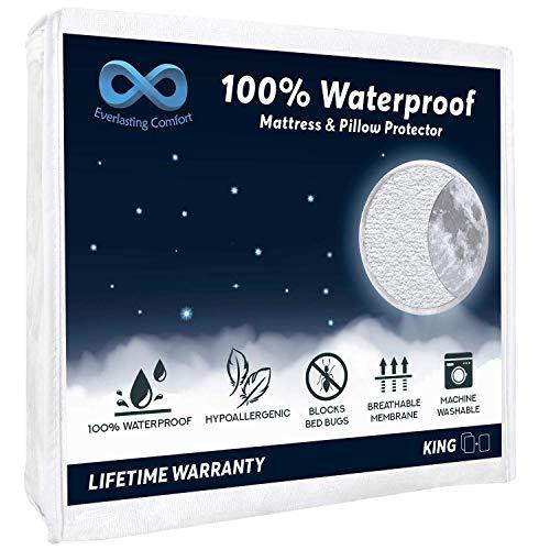 Everlasting Comfort 100% Waterproof Mattress Protector (King) and 2 Free Pillow Protectors