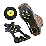 Ice Grips 2 Packs Snow Traction Gear Ice Cleat Traction Prevent Slipping Wear on Shoes/Boots with 10 Anti Slip Rubber Spikes Steel Studs