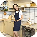 KKTech Chef Apron with Front Pockets, Japanese Style Apron, Unisex Bib Kitchen Apron, Soft Cotton Linen Apron, Perfect for DIY Project, Crafting, Cooking, Baking, BBQ (Strap H Style-, Blue)