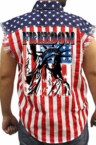 SHORE TRENDZ Men's USA Flag Sleeveless Denim Shirt Freedom Statue Of Liberty Biker Vest: USA - In Store Flag Nyc