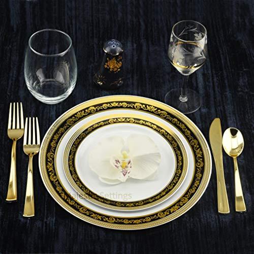 Majestic Durable Plastic Dinner Plate - Set of 40 Disposable Dinner Plates Bundle Combo | Premium Quality Firm White Plastic | Elegant Gold on Black Designed Rims | Bulk Qty 20x 10.25'' Dinner Plates + 20x 7.25'' Salad Plates