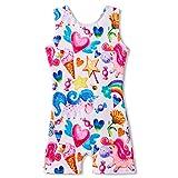Gymnastics Leotards for Girls Unicorn 5t 5-6 Years Old Sparkly Biketards Sleeveless Dancewear Clothes with Shorts White