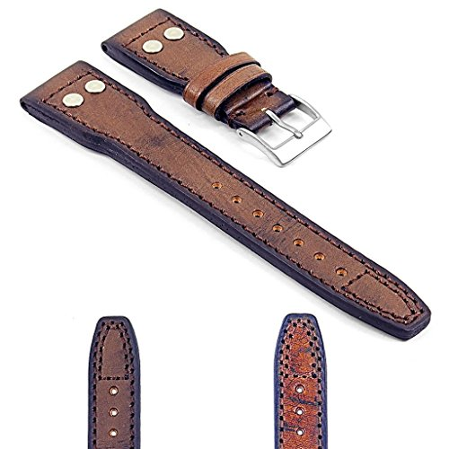DASSARI Continental Vintage Style Italian Leather Watch Strap Pilot in Brown 22mm (Vintage Style Italian)