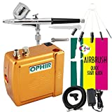OPHIR Portable Mini Airbrush Air Compressor Kit Dual Action Airbrush Set with Cleaning Brush Adjustable Spray Gun for Hobby Model Crafts (Gold)