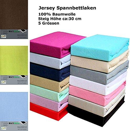 Jersey Spannbettlaken Spannbetttuch 100% Baumwolle Bettlaken in 5 Größen und vielen Farben Öko-Tex (180x200 - 200x200cm, Braun)