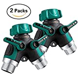 DuoMuo 2 Packs 2 Way Y Hose-Splitter Hose- Connector Garden-Outdoor-Faucet with Comfortable Rubberized Grip - 10 Washers