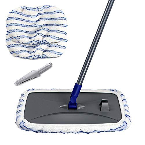 Large Area Cleaning Hardwood Floor Microfiber Mop Flat Wet Mops with 2 Mop Pads and Scraping Dust Tool Masthome