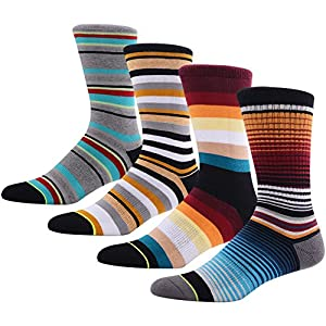 Casual Dress Groomsman Socks for Men, MEIKAN Funky Colorful Cushion Mid Calf Long Wedding Theme Socks ,4 Pairs Color 6,One Size