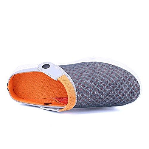 Sabot Chaussures Antidérapant D'Été Femme Drainage Trous Respirante Plage Chaussons Gris Homme avec de à Orange Yooeen Sabots Nus de Piscine Enfiler Pieds Été Sandales zX5Tq5