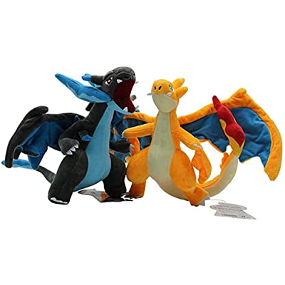 Lodestar 10 Inch Set of 2 Anime Mega Charizard Evolution X & Y Plush Stuffed Action Figure Toy Collectable Gift for Kids: Toys & Games
