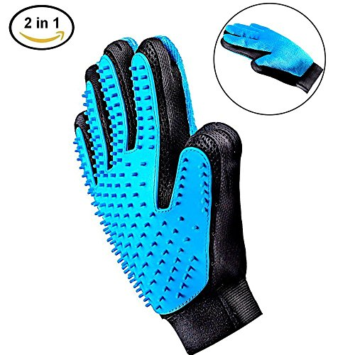 [Professional Edition]2-in-1 Pet Grooming Glove,Puppy Dog Cat Hair Remover Gloves,Pet Bathing Brush, Massage Comb for Dog Cat Horse And Most Pets Deshedding Brush