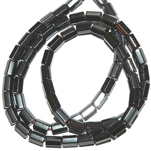 - Metallic Gunmetal 6mm 6-Sided Round Tube Hematite Gemstone Beads 15