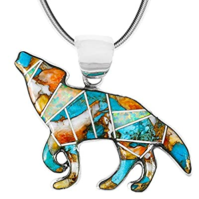 "Coyote Wolf Pendant Necklace Sterling Silver 925 Genuine Turquoise & Gemstones (24"" Length)"