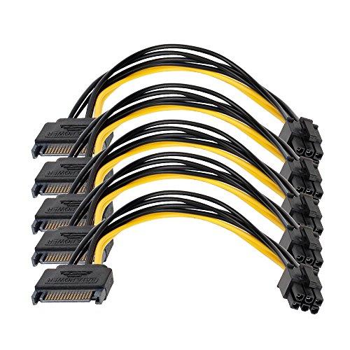 LIQUN SATA Power Adapter Cable 5Pack SATA 15-Pin to 6-Pin PCI Express Card Power Power Cable 0.66Ft/0.20M