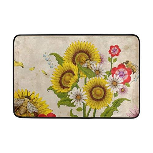 GRATIANUS Doormat Honey Bees and Wildflowers Lightweight Non Slip Door Mats Indoor Bathroom Kitchen Decor Rug Mat Welcome Doormat 15.7