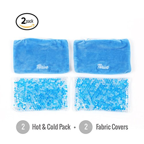 Gel Beads Hot & Cold Compress Pack – 2-Pack – Innovative Reusable gel bead technology provides instant heat or ice pain relief, rehabilitation and therapy. Includes 2 packs + 2 covers by Thrive (Image #2)