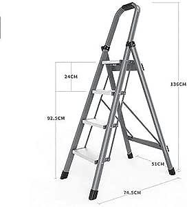 Plegable Antideslizante Escalera,aluminio Aleación Escaleras De Mano Multifunción Portátil Pesada Deber Escalera Para El Hogar-gris4 74.5x51x136cm(29x20x54inch): Amazon.es: Bricolaje y herramientas