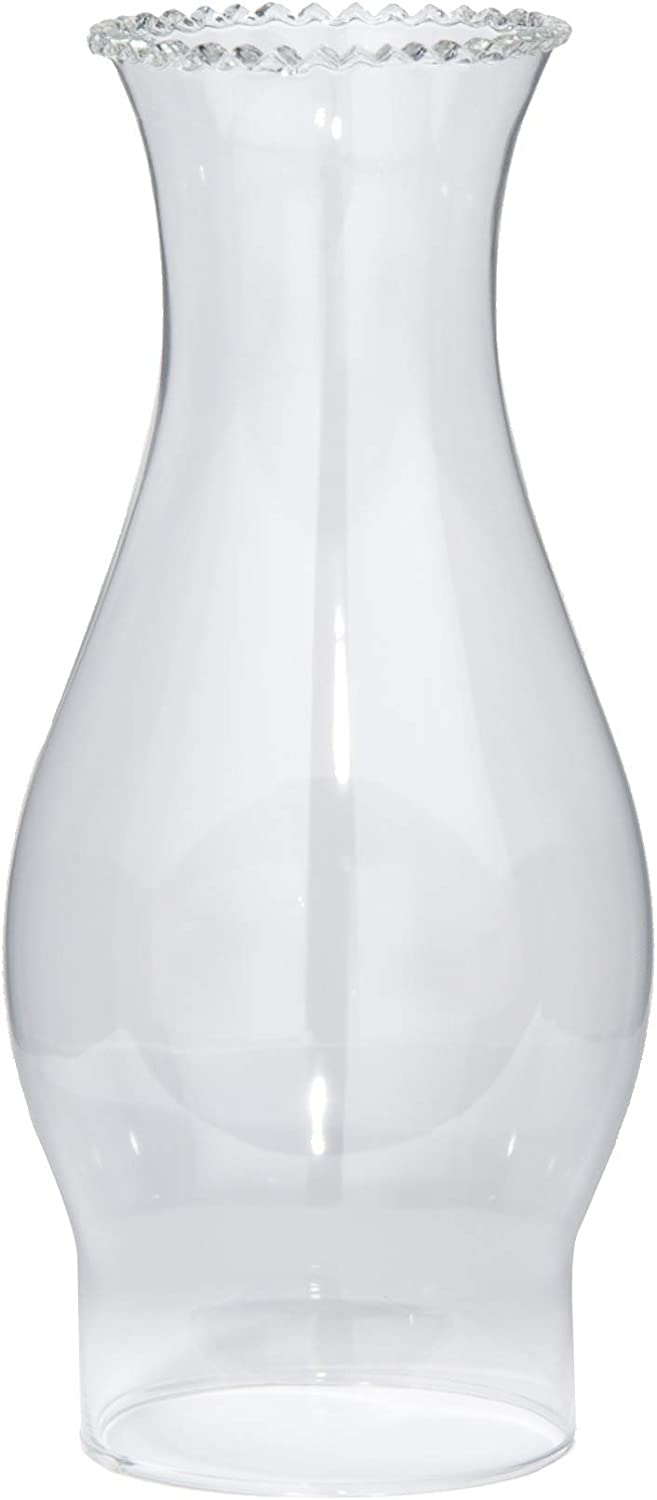 B&P Lamp 3 Inch by 8 1/2 Inch Clear Crimped Top Chimney