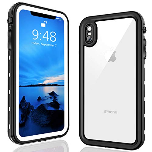 FXXXLTF iPhone Xs Max Waterproof Case, Supporting Wireless Charging Full Body Protective Clear Case Built in Screen Protector, Waterproof Shockproof Snowproof Case for iPhone Xs Max (White,6.5 Inch)