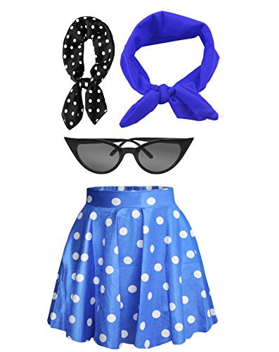 Fancy 50s Outfit Women's High Waist Candy Colors Polka Dot Skirt Costume Outfit (Blue) ()