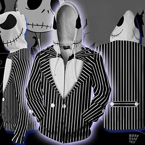 - 2019 Funny Jack Skellington 3D Printed Hoodies Sweatshirts Men Spring Antumn Sportswear Zip Up Skulls Jackets Man Coats (A31819D/XL)