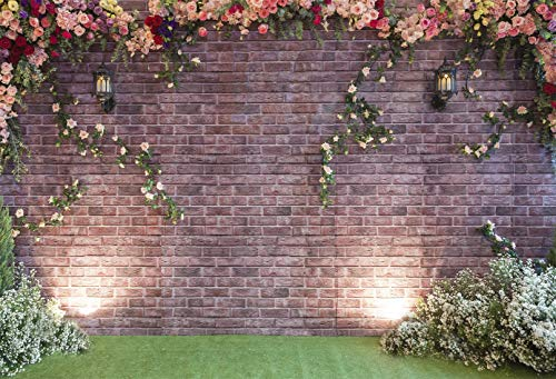 7X5ft Wedding Photography Backdrops Brick Wall Pink Flower Grass Spring Photo Backdrop for Picture Bridal Show Background Photo Booth Prop