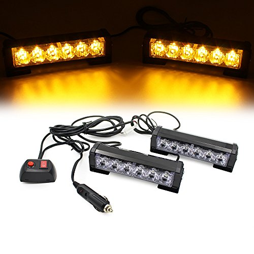 FOXCID 2 X 6 LED 9 Modes Traffic Advisor Emergency Warning Vehicle Strobe Lights for Interior Roof/Dash/Windshield/Grille/Deck Universal Waterproof (Amber/Yellow)