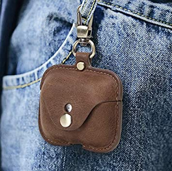 for AirPod Pro Case Leather Coffee Personalized Genuine Leather Protective Airpod Pro Case Cover Shockproof with Loss Prevention Clip for Apple AirPods 3 Pro Wireless Charging Case for airpods
