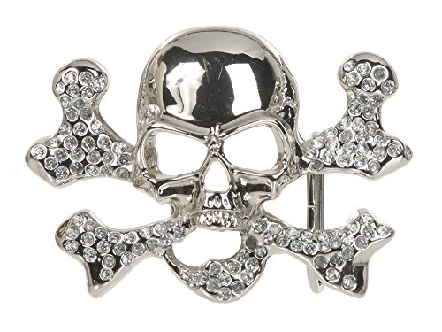Rhinestone Skull & Cross Bone Belt Buckle