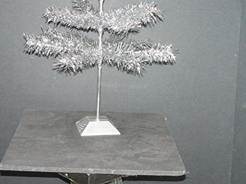 24'' Silver Christmas Tinsel Tree Retro Style Silver Feather Tinsel Tree by Lee Display (Image #5)