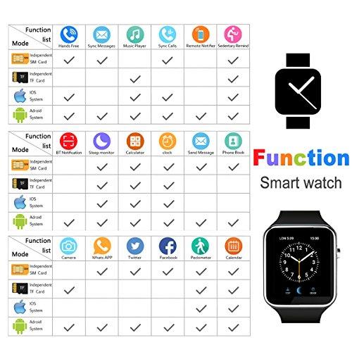 Smart Watch,Bluetooth Smartwatch Touch Screen Wrist Watch with Camera/SIM Card Slot,Waterproof Smart...