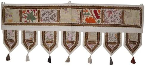 Indian Handmade Embroidered Topper Window Valance Indian Cotton Door Hanging Ethnic Christmas Gifts Toran Jewelz On Net