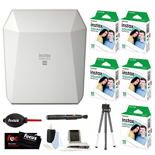 Fujifilm Instax Share SP-3 Smartphone Printer (White) w/SQ10 Square Instant Film (50 Pictures) + Focus (Fuji Photo Printers)