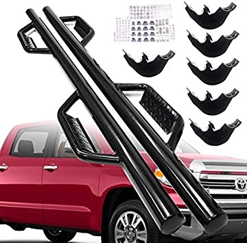 "For 2007-2018 Toyota Tundra CrewMax Extended Crew cab Blk 3/"" Side Step Nerf Bar"