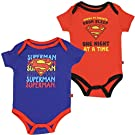 "Superman Infant Baby Boys ""One Night At A Time"" Onesie Creeper Bodysuit (2-Pack) (3-6 mo. , Red / Royal)"