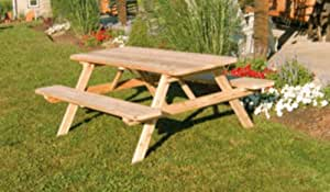 Outdoor 4 Foot Pine Picnic Table with Attached Benchs - STAINED- Amish Made USA -Bees Wax
