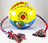 Tuggo, (Tug-o-war) Adjustable Weighted Exercise Dog Toy 10in ball with 4ft Rope (Blue)