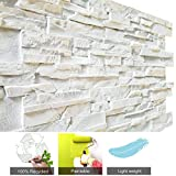 3D Brick Wall Panels FRP Faux Stone Decorative Wall Tiles Wallpanel for Extrior and Interior Wall Art, Matt White (1 Box, 44' X 28'/pcs, Reef Brick, 25.54 Square Feet/Box)