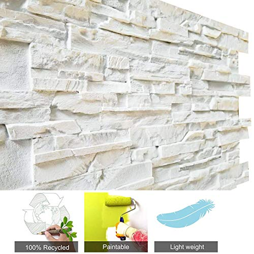"3D Brick Wall Panels FRP Faux Stone Decorative Wall Tiles Wallpanel for Extrior and Interior Wall Art, Matt White (1 Box, 44"" X 28""/pcs, Reef Brick, 25.54 Square Feet/Box)"