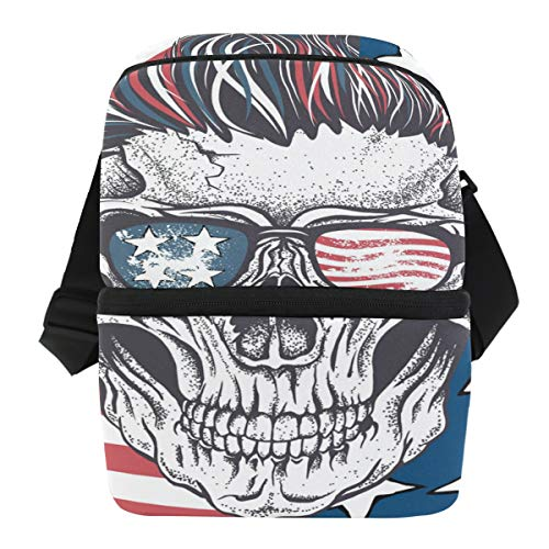 CUTEXL Funny Halloween Skull UK Flag Lunch Box Bag Double-deck Insulated Cooler Adjustable Strap Handle Tote Bag with Zipper Picnic Travel]()