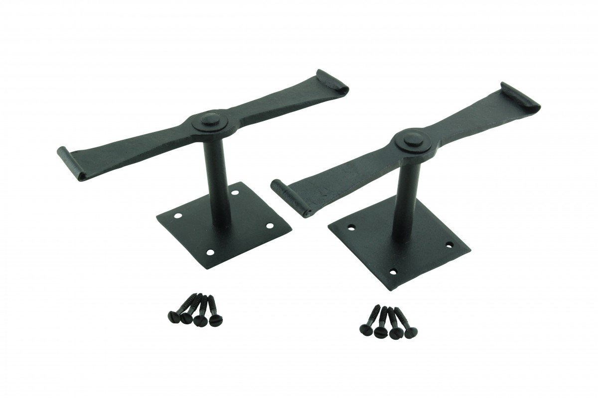 Pair Shutter Dog Black Wrought Iron Propelier Wood | Renovator's Supply